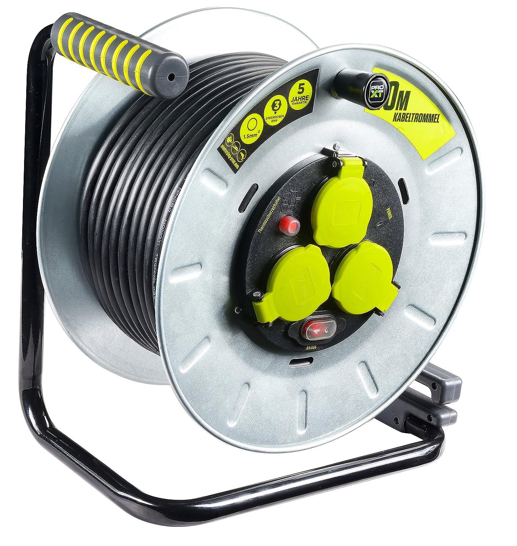 Masterplug Pro-XT Metall Kabeltrommel mit 3 Steckdosen, Schalter und ...
