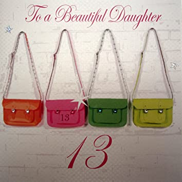 WHITE COTTON CARDS To A Beautiful Daughter 13 Handmade Large 13th Birthday Card Neon Satchels Amazoncouk Kitchen Home