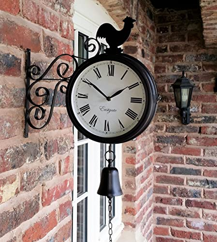 Cockerel And Bell Outdoor Garden Clock With Station Bracket Double Sided    20Cm Diameter