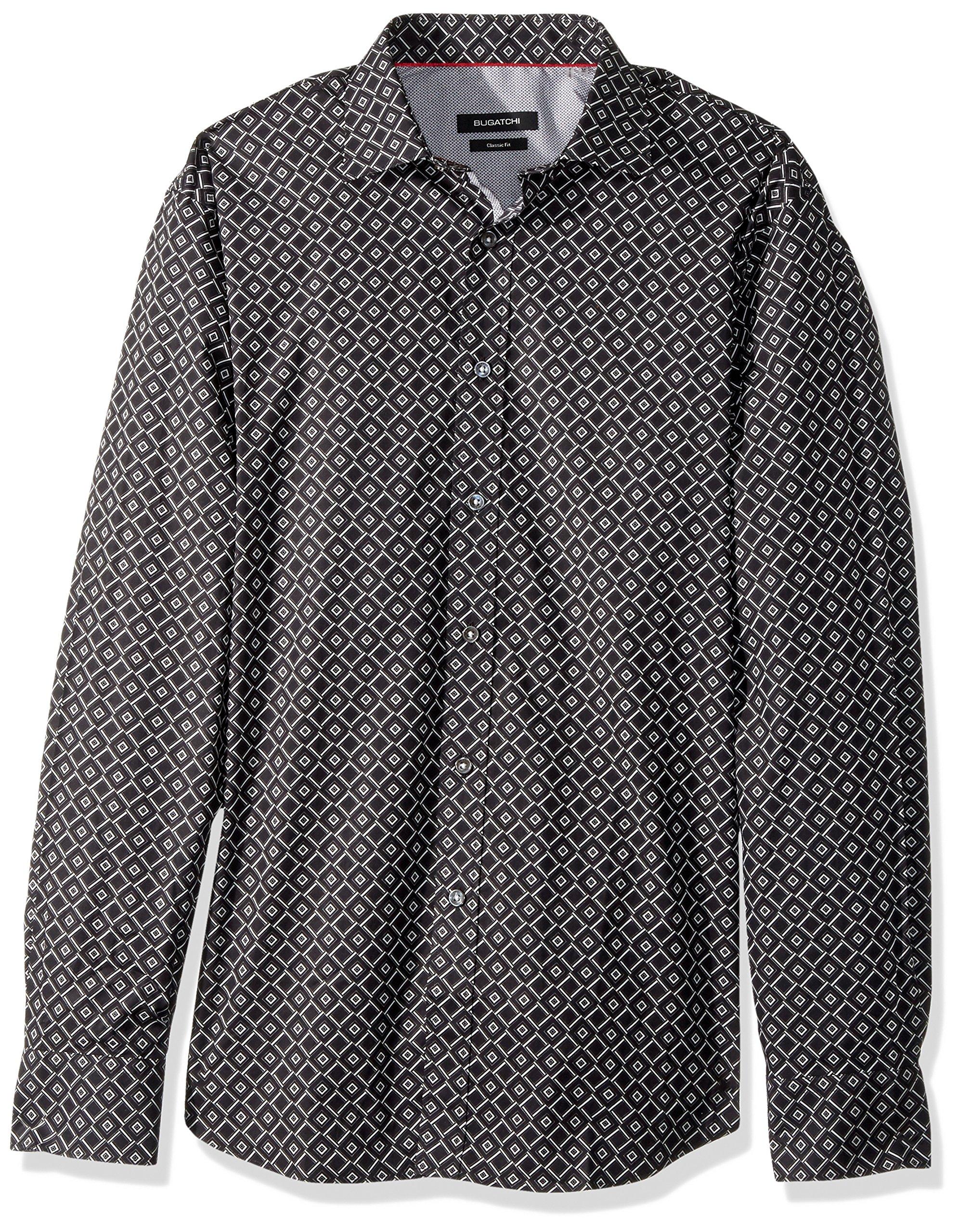 BUGATCHI Men's Cotton Long Sleeve Classic Fit Dali Woven, Black, XL