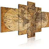 DEKOARTE 67 - Cuadro moderno en lienzo 5 piezas mapamundi antiguo, 180x3x85cm