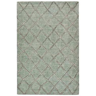 Stone & Beam Modern Textured Pattern Farmhouse Wool Area Rug, 5' x 7' 6 , Aqua