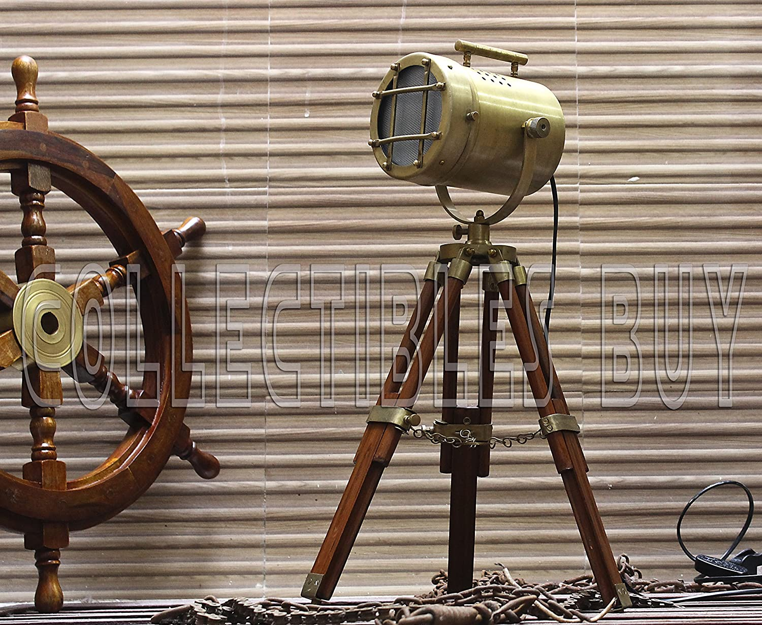 Antique Tripod Style Vintage Model searchlight Wood Tripod Lamps LED spotlights Desktop