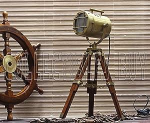 Antique Tripod Style Vintage Model searchlight Wood Tripod Lamps LED spotlights Desktop