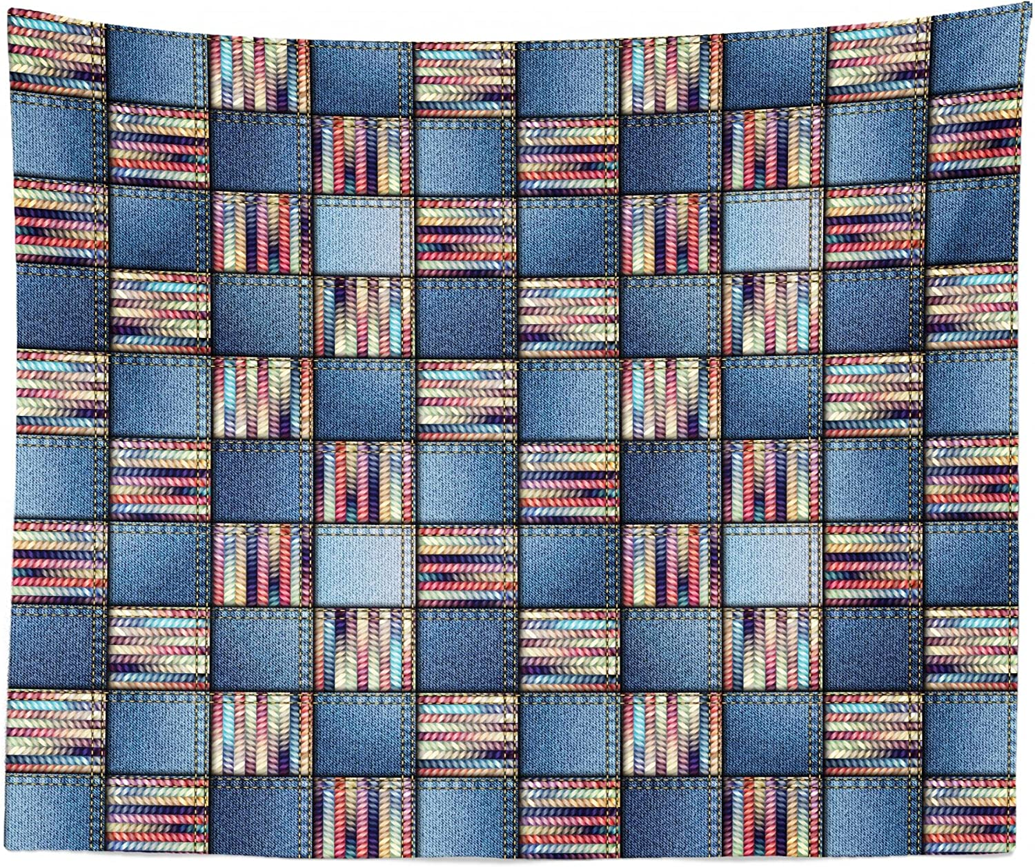 """Lunarable Patchwork Tapestry King Size, Quilt Design with Scraps of Denim and Knit Graphic Colorful Melange Print, Wall Hanging Bedspread Bed Cover Wall Decor, 104"""" X 88"""", Blue"""