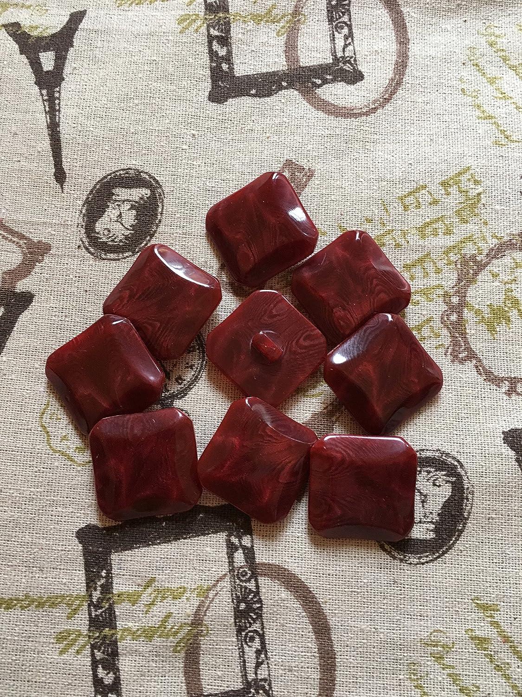 6 de vino grande//color rojo botones cuadrados 28 mm de la capa de la rebeca libre P y p