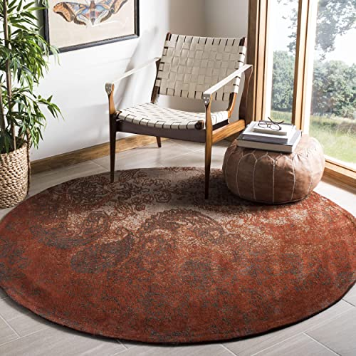 Safavieh Classic Vintage Collection CLV222A Rust and Brown Round Area Rug 6 Diameter