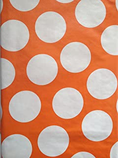 Charmant Summer Fun Flannel Back Vinyl Tablecloths   Orange And White Polka Dot    Assorted Sizes (