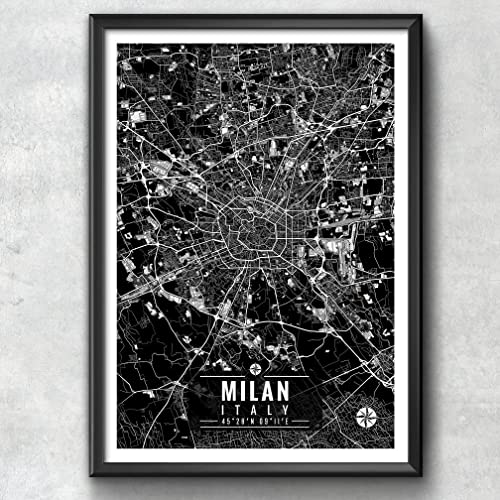 Italy Map Wall Art.Amazon Com Milan Italy Map With Coordinates Milan Wall Art Milan