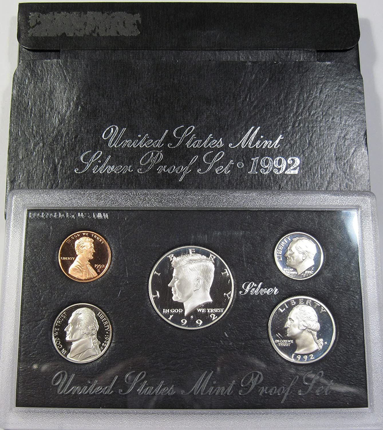 1992 US Mint Silver  Proof set 90/%  Silver Kennedy Black box OGP 5 coins