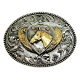 Horse Belt Buckle With Hearts American Western Design 24ct Gold Plate Authentic White Wolf Gold Branded Product
