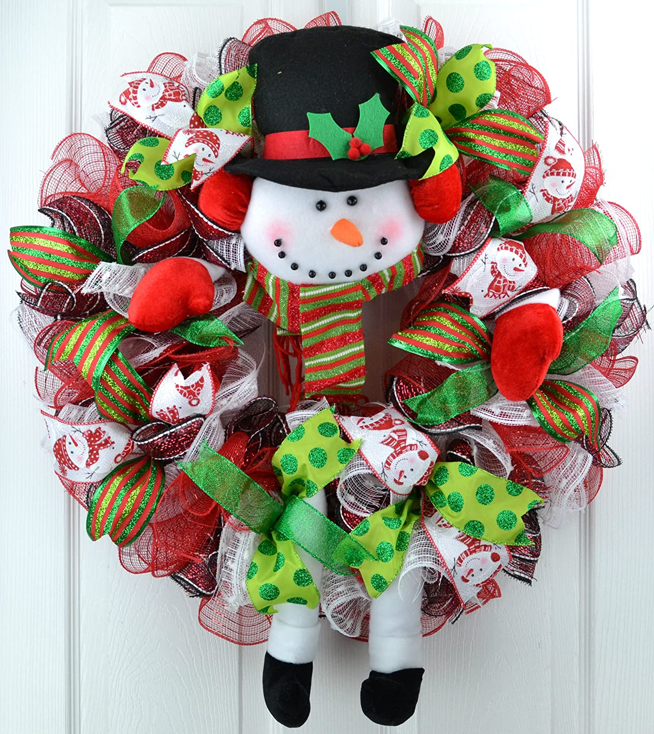 Snowman Legs Christmas Mesh Wreath; White Red Lime Green Black