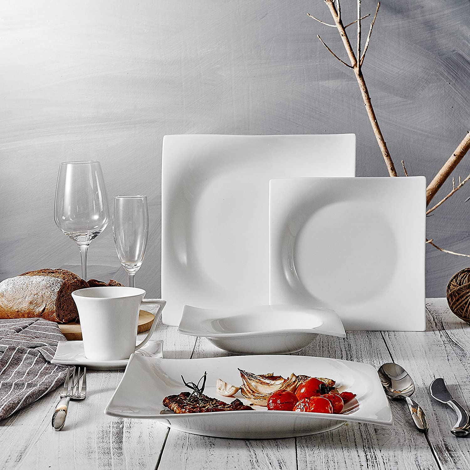 Vancasso 30 Pieces Ivory White Porcelain Dining Service Tableware Set of 6 x Cups//Saucers//Dinner Plates//Dessert Plates//Soup Plates for 6