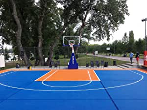 Mats Inc. Bergo Basketball Court Tiles, Medium Court (26.7' x 24.47'), Blue and Orange
