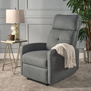 Nero Contemporary Navy Blue Fabric Power Recliner (Charcoal)