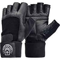 Elite Body Squad Weight Lifting Gloves - Soft Leather Gym Gloves With Wrist Support + Double Stitched Fingers And Palm - Breatheable Mesh Lycra On Back + Easy Open Finger Tab Size Adjuster