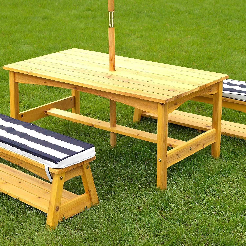 KidKraft 106 Gartentischset mit Bank, Kissen und Sonnenschirm Gartenmöbel für Kinder Streifenmuster, Naturfarben