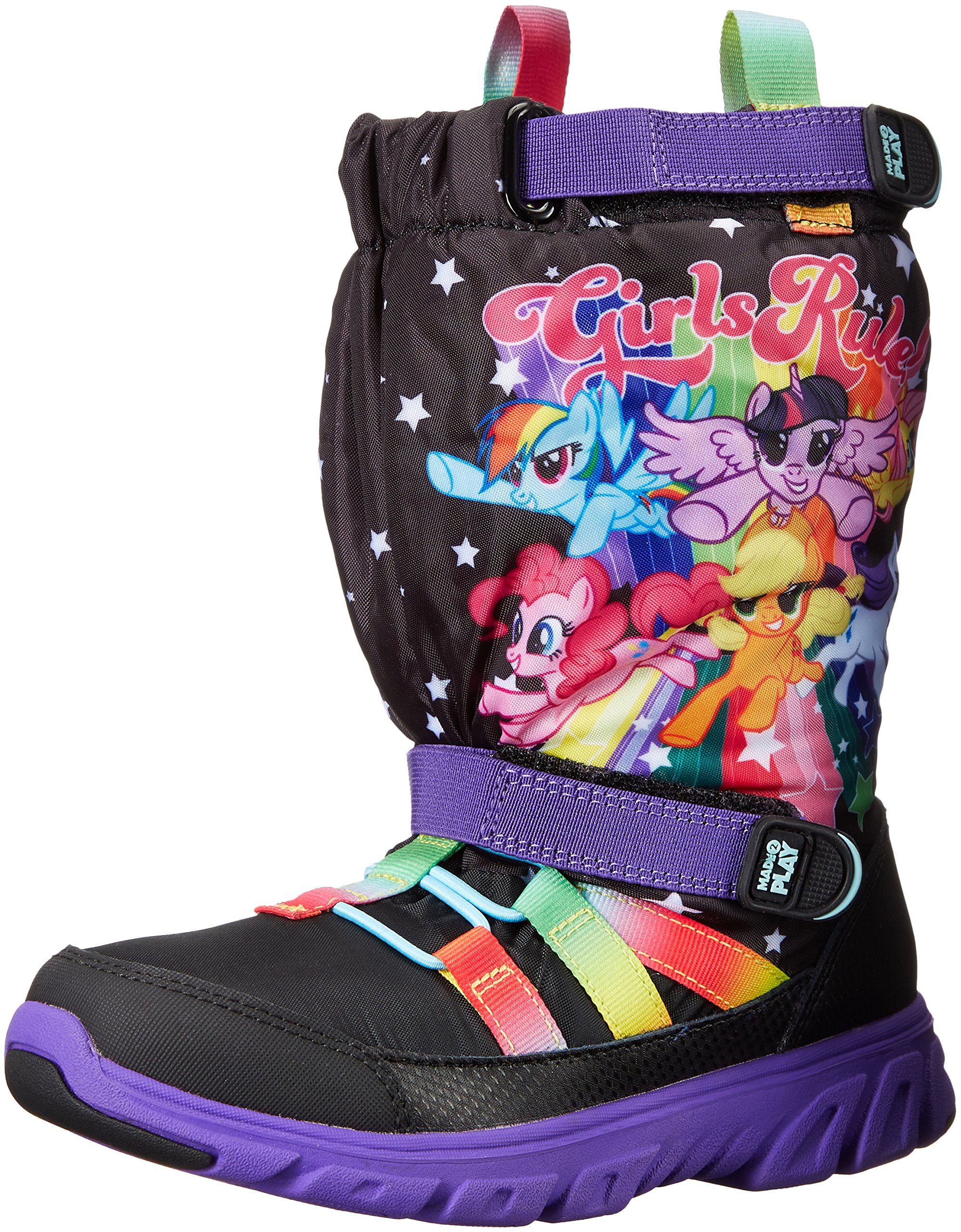 Stride Rite Made 2 Play Sneaker Winter Boot (Toddler/Little Kid), Black/Rainbow, 5.5 M US Toddler