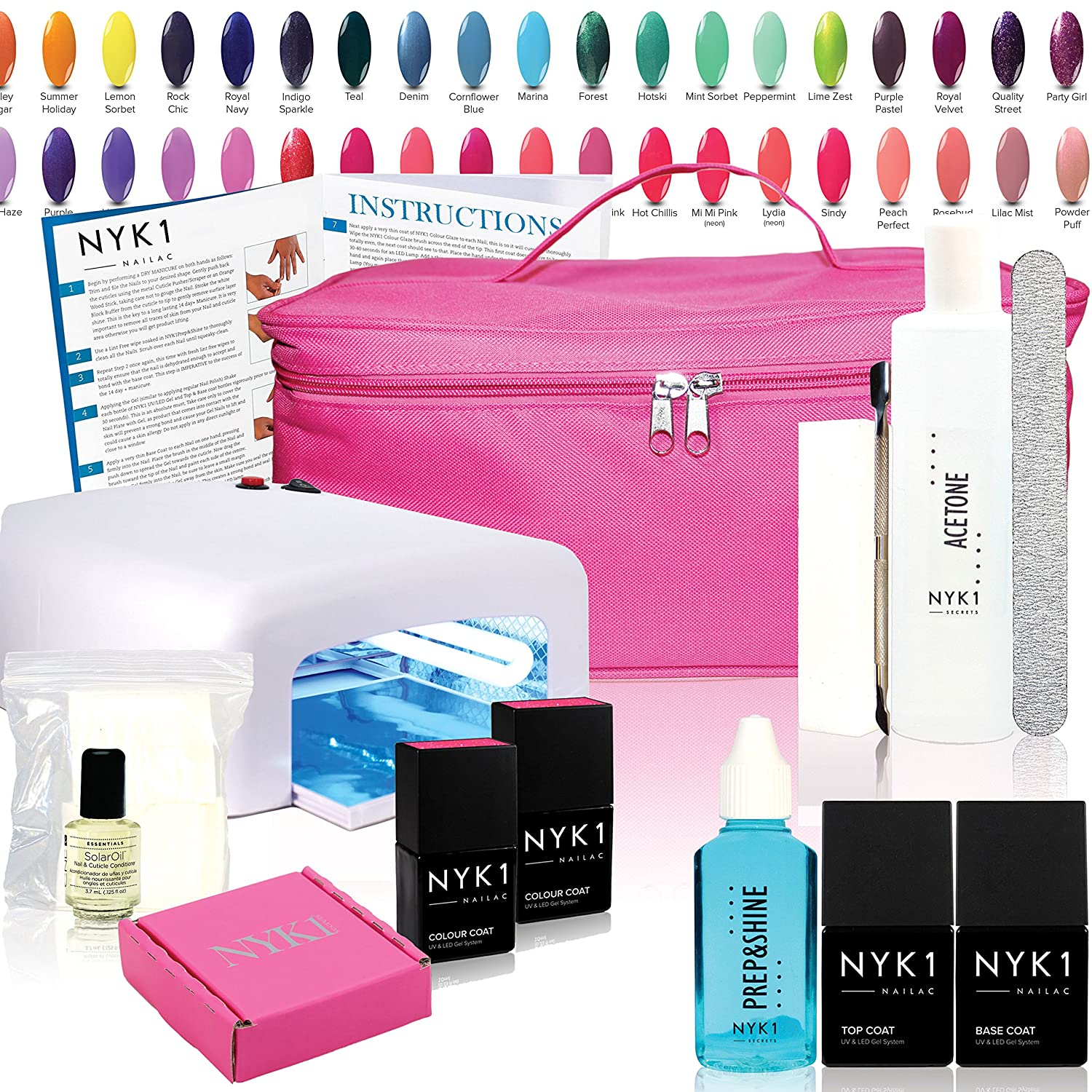 Nyk1 uv essentials 2 colour nailac gel nail polish kit choose nyk1 uv essentials 2 colour nailac gel nail polish kit choose your colours full uv gel nail starter kit with acetone remover top coat base coat solutioingenieria Choice Image