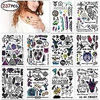 Konsait tatuajes temporales Flash Tatuajes temporär Tattoo cuerpo pegatinas tatuajes temporales Hamsa corazón flores Rose Colores joyas Tattoo para adultos mujer niñas(10 hojas)