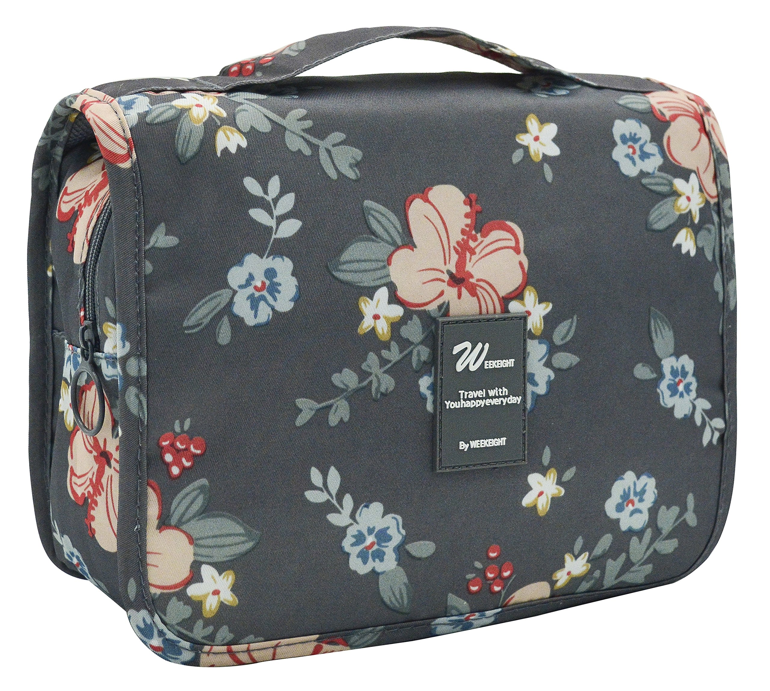 Portable Hanging Travel Toiletry Bag Waterproof Makeup Organizer Cosmetic Bag Pouch For Women Girl (Deep Grey Flowers)