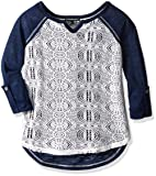 My Michelle Girls' Big Crochet Knit Front Top with Solid Back, and Roll Tab Sleeves, Navy, X-Large