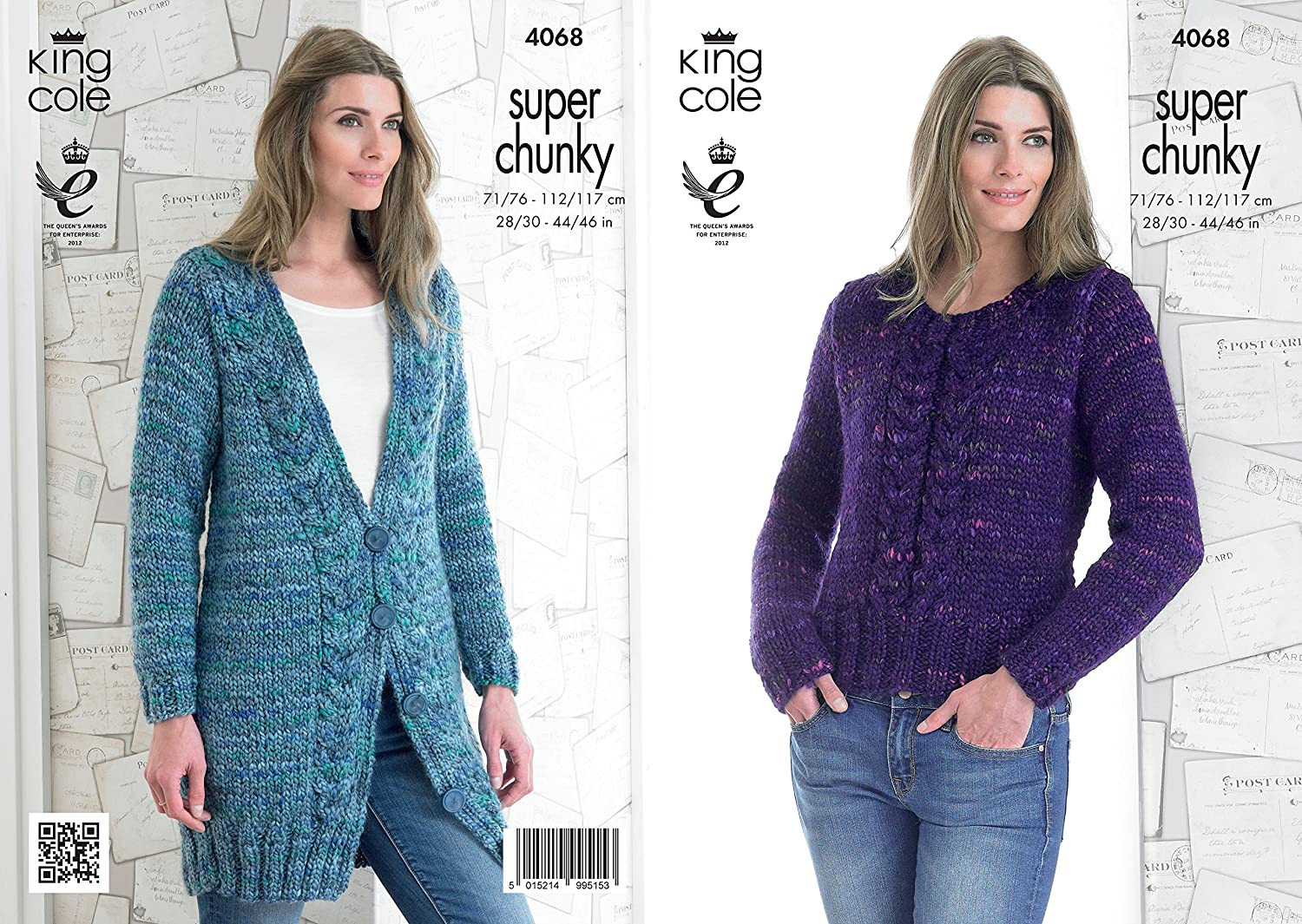 King Cole Ladies Gypsy Super Chunky Knitting Pattern Womens Cable ...