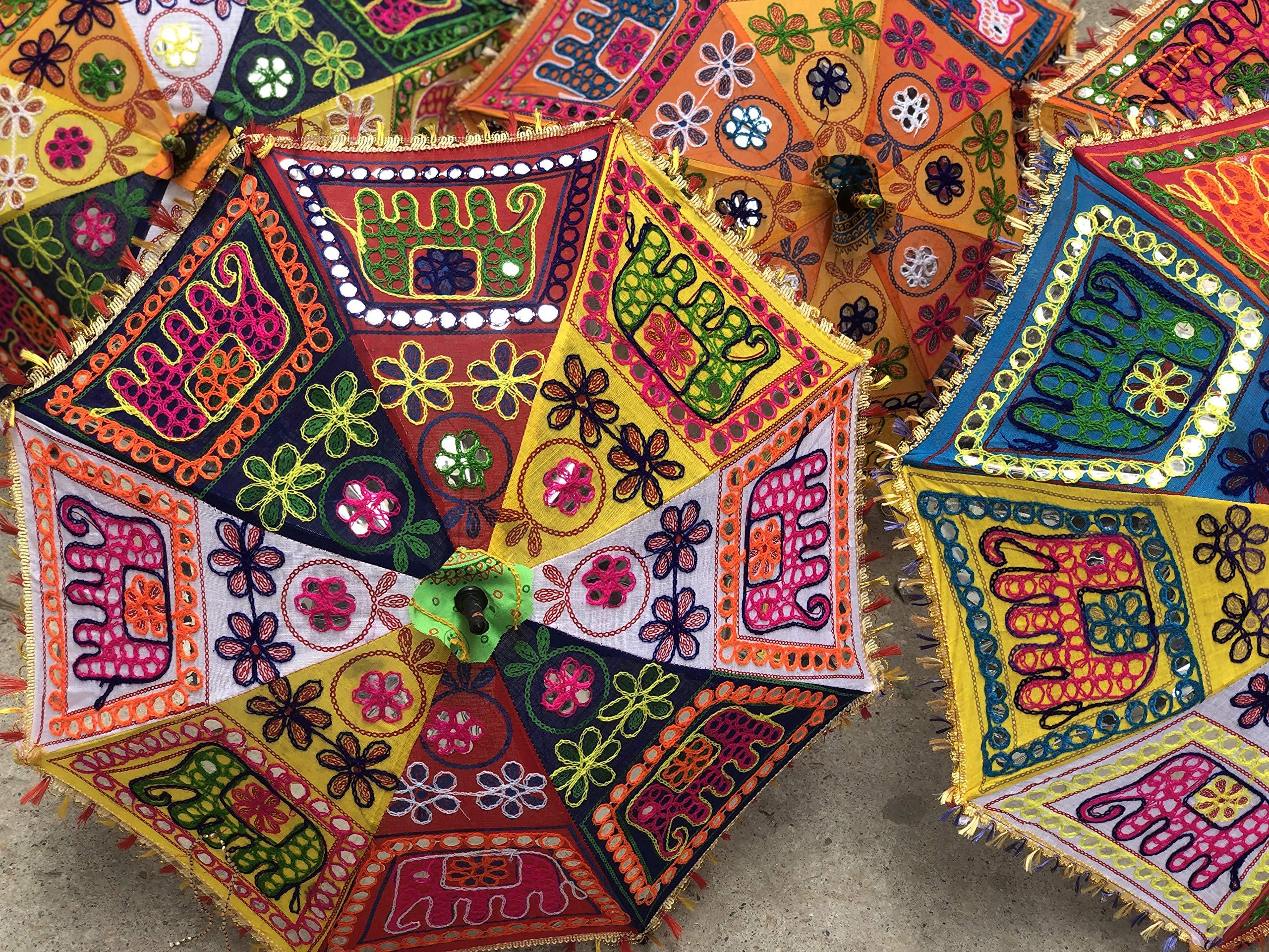 GANESHAM Indian Multi Colored Beach Umbrella UV Protection Umbrella Sun Umbrella Embroidery Boho Parasol Indian Wedding Umbrellas Parasol (5pc) (Elephant) by GANESHAM
