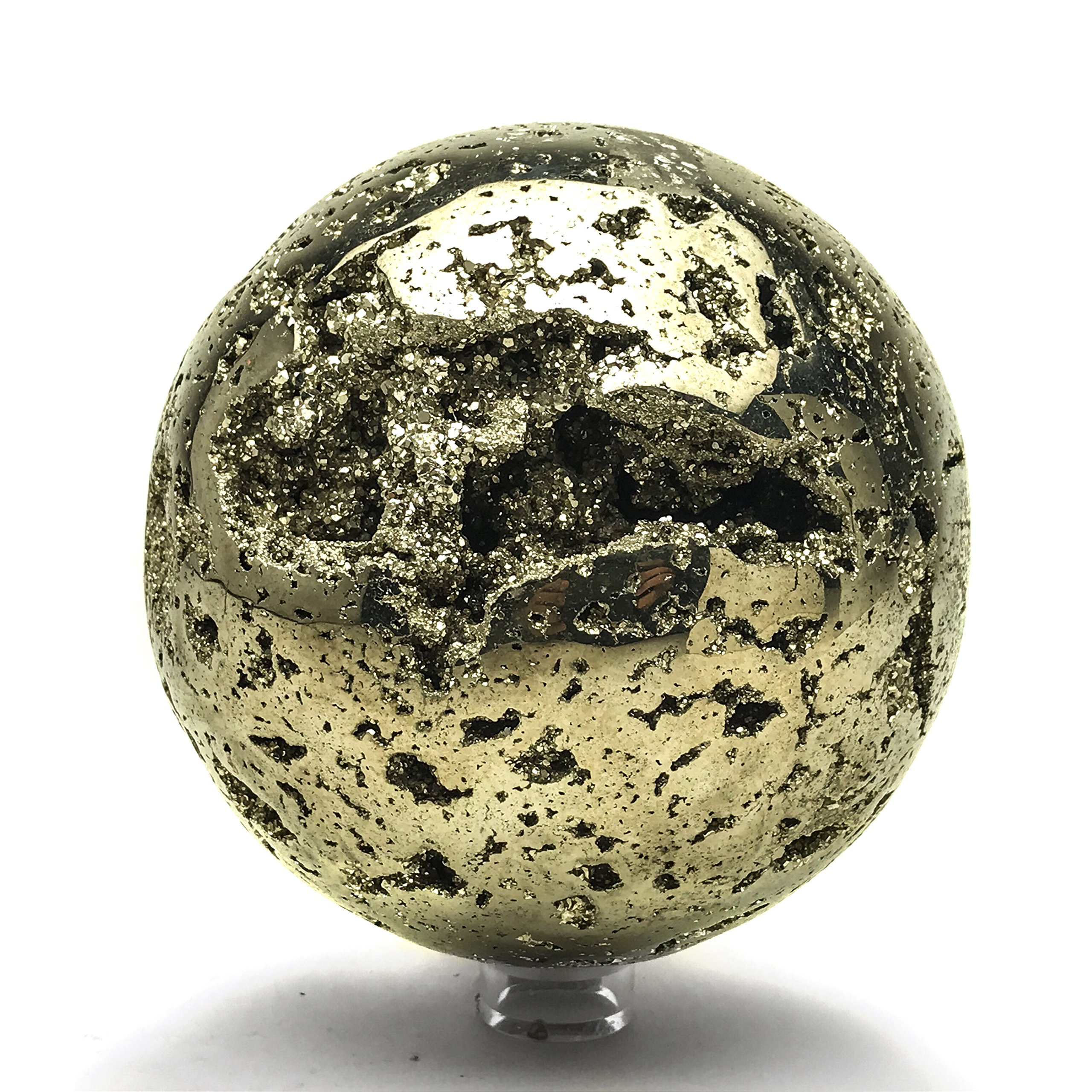 Astro Gallery Of Gems Large Polished Pyrite Sphere (4.7'' diameter, 9.5 lbs)