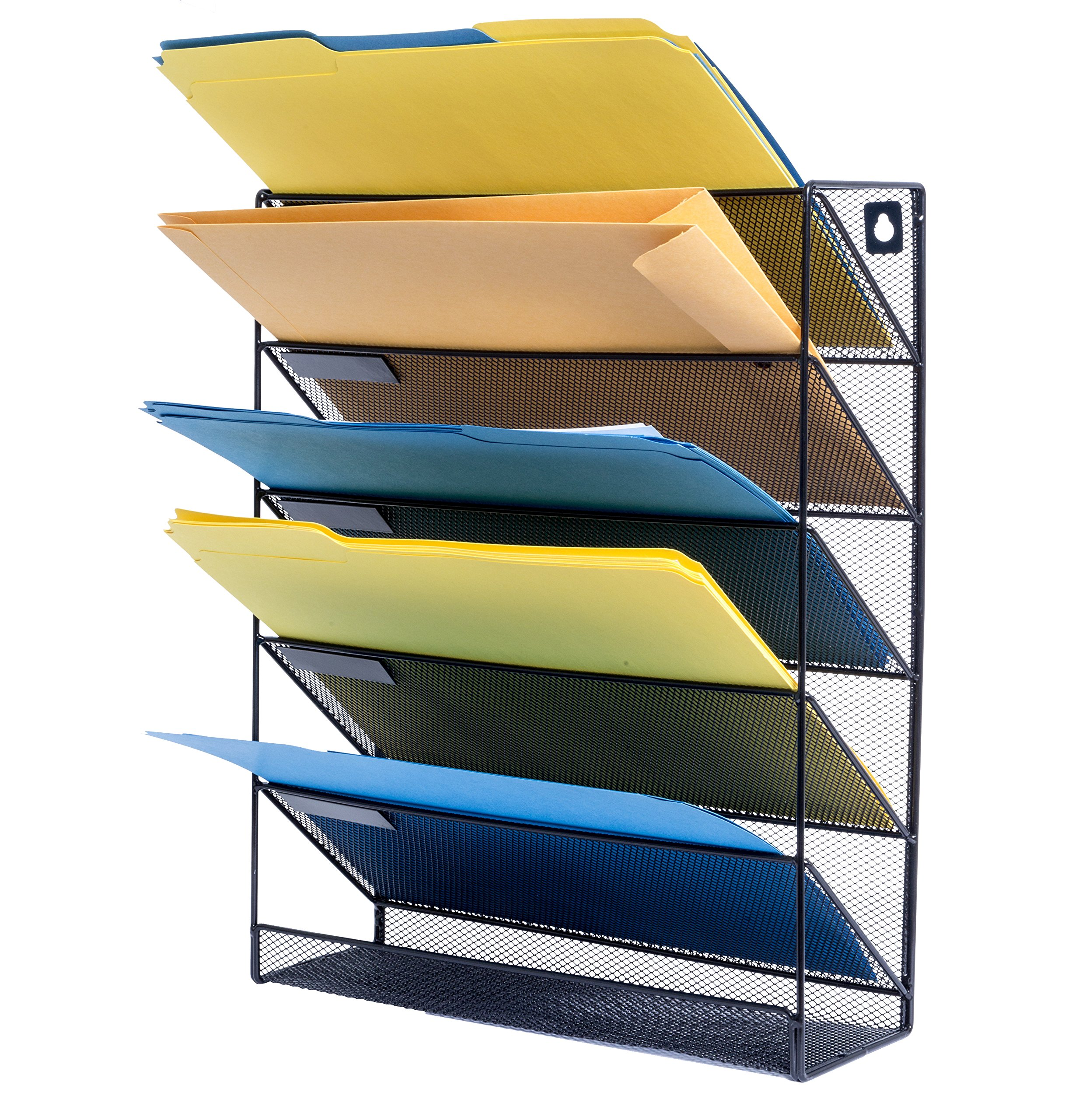 5 Tray Wall File Organizer, Metal Mesh Organizer with 5 Trays, Perfect for sorting incoming mail, storing important letter files, folders, papers, books, binders, and more
