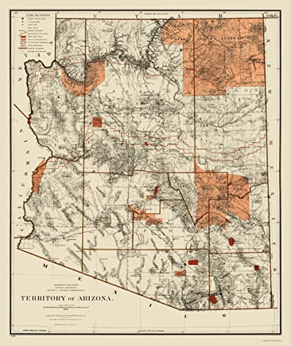 Map Of Old Arizona.Amazon Com Old State Map Arizona Territory General Land Office