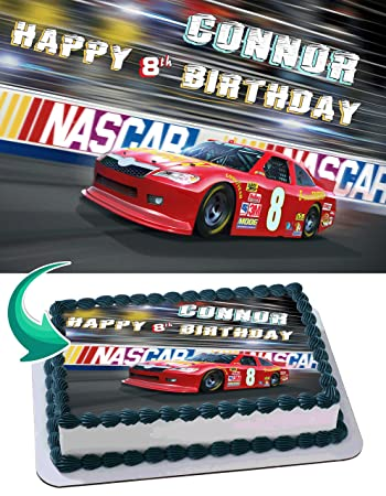 Nascar Racing Cars Cake Topper Personalized Birthday 1 4 Sheet