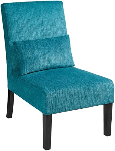 Red Hook Martina Contemporary Upholstered Armless Accent Chair with Back Pillow – Caribbean Blue