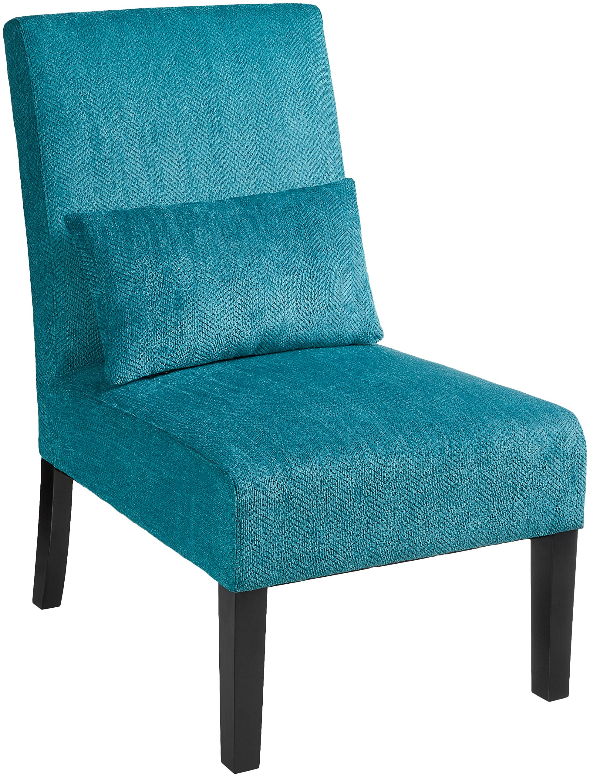 Roundhill Furniture Pisano Teal Blue Fabric Armless Contemporary Accent Chair with Kidney Pillow, Single - This durable chair is crafted with solid wood legs and a chenille fiber weave, which means it is built to withstand extensive use through time. Ready to Assemble The chair comes with a matching fabric accent pillow to complete the look. The sturdy legs is coated with deep espresso finish. It's solidly made of wood frame which offer a solid foundation Upholstery Color: Teal Blue. The seat and back are padded for great comfortable feeling. The unique graffiti design is a nice touch of modern contemporary appeal - living-room-furniture, living-room, accent-chairs - A1bPh7lD90L -
