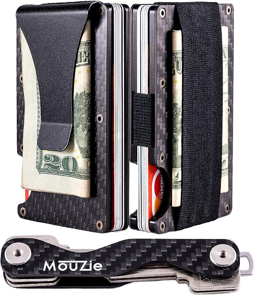68f5ace0d178 Carbon Fiber Money Clip + Cash Strap Band Slim Aluminum RFID Blocking  Minimalist Premium Front Pocket Credit Card Holder Wallet + Compact Key ...