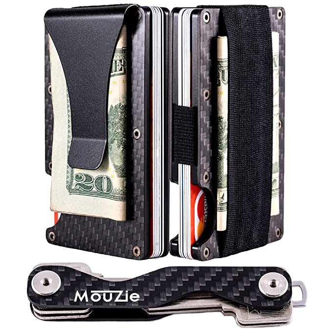 Carbon Fiber RFID Blocking Wallet Money Band Credit Card Holder Slim Black UK