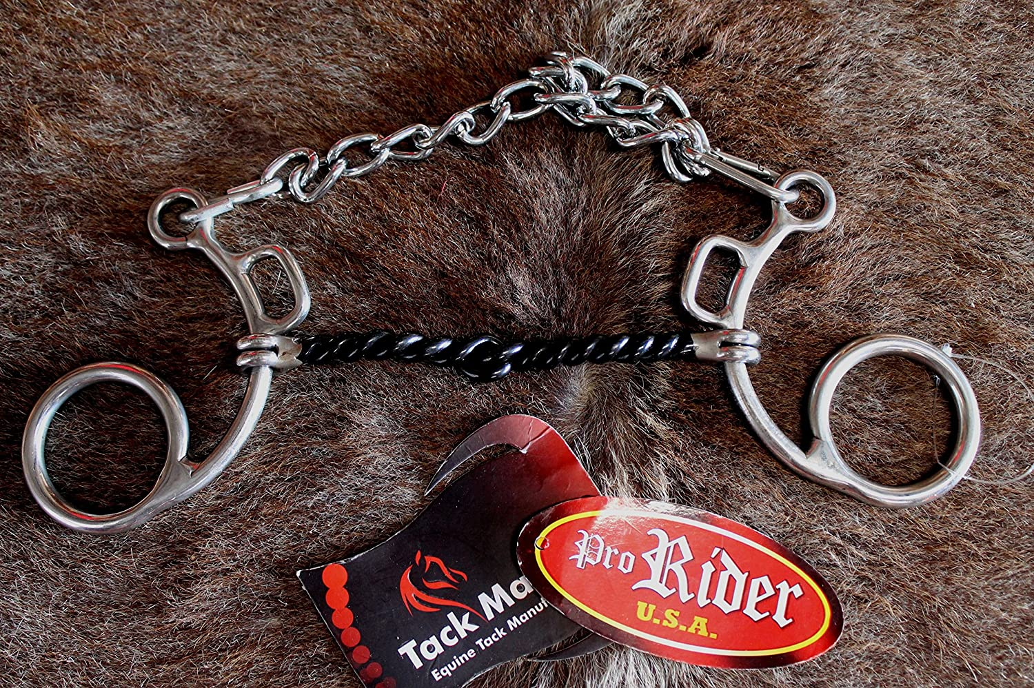 PRORIDER Horse Snaffle Bit low-port補正Horseビットチェーンwith Twistedワイヤ35244   B07DLHM7BW