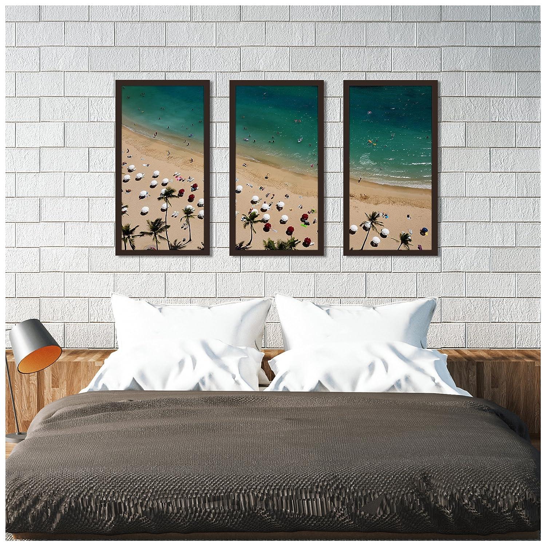 Picture Perfect International Beach Please Xvii Framed Plexiglass Art Set of 3 Wall-Decor 13.5 W x 25.5 H x 1 D