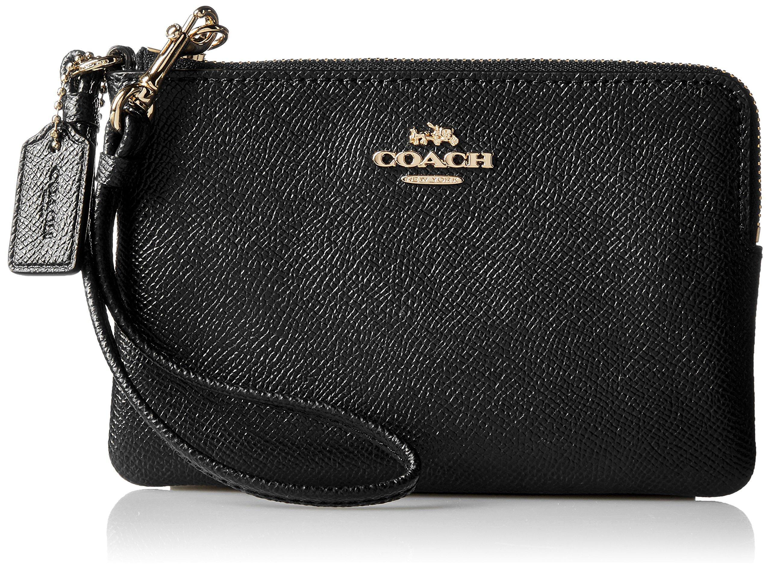 COACH Women's Crossgrain Leather Small Wristlet Li/Black Handbag