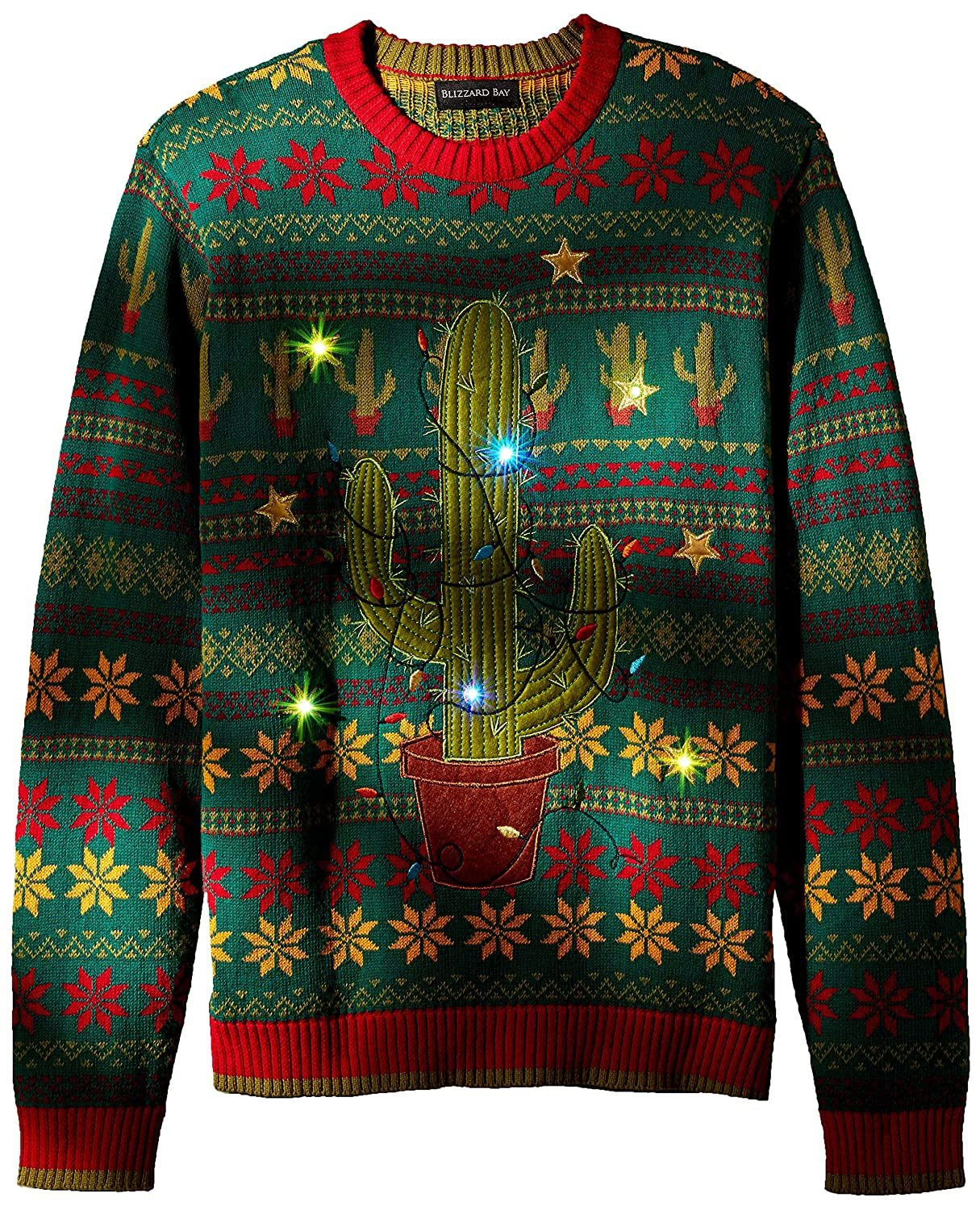 X-Large Blizzard Bay Mens Ugly Christmas Sweater Light UP Green//Red