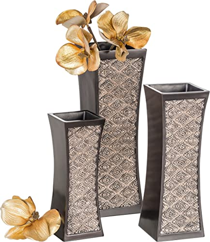 Dublin Decorative Vase Set of 3 in Gift Box, Durable Resin Flower Vase Set Decor, Rustic Decorated Dining Table Centerpiece Vases Home Accents for Living Room, Bedroom, Kitchen More Brown