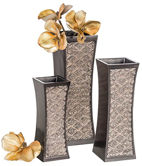 Dublin Decorative Vase Set of 3 in Gift Box, Durable Resin Flower Vase Set  Decor, Rustic Decorated Dining Table Centerpiece Vases Home Accents for