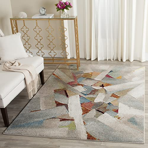 Safavieh Porcello Collection PRL6937B Modern Abstract Art Grey and Multi Area Rug 4 x 6