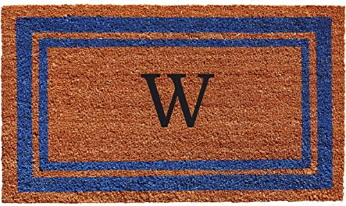 Calloway Mills 152972436W Blue Border 24 x 36 Monogram Doormat Letter W