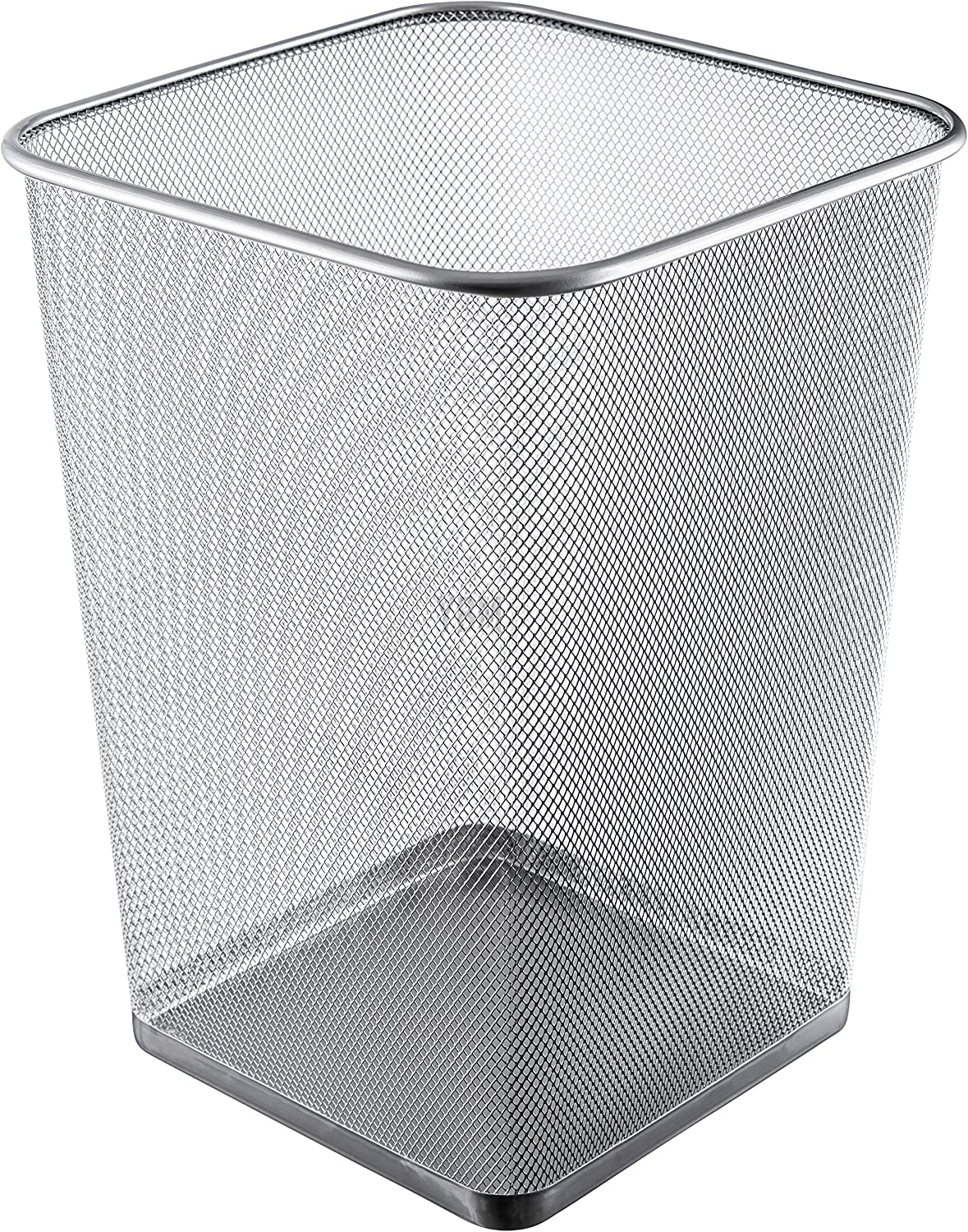 Ybmhome Steel Silver Mesh Square Open Top Waste Basket Bin Trash Can for Office Home 2487 (1, 5 Gallon)