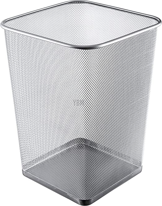 Kids Room Black Dorm Kitchen Round Open Top Recycling Bin Set Trash Bin for Bathroom Mesh Wastebasket Trash Can Steel Mesh Office Garbage Can Home Office