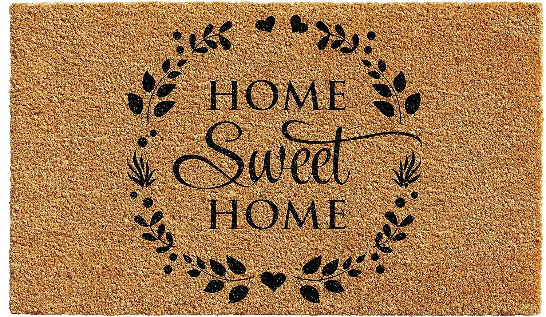 """Calloway Mills 102251729 Sweet Wreath Doormat, 17"""" x 29"""", Natural, Black"""