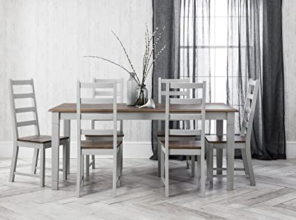 Noa And Nani Canterbury Dining Table Set And 6 Chairs Dark Pine And Silk Grey Amazon Co Uk Kitchen Home