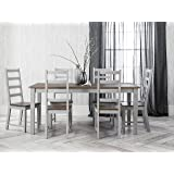 Canterbury Dining Set Table and 6 Chairs in Silk Grey and Dark Pine Noa & Nani