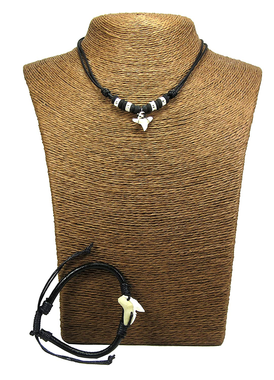 Real Shark Tooth Necklace Surfer Hawaiian Beach Boys Girls Men - Color White Bone Shark Surfer Necklace Unisex Shark Jewelry Necklace
